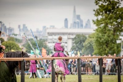 Lambeth Country Show - Brockwell Park - Medieval Jousting Tournament with The Cavalry of Heroes, Knights on Horseback Main Arena Stunt Horse Show 2017 - Sir Robert under London Skyline