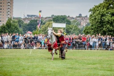 Lambeth Country Show - Brockwell Park - Medieval Jousting Tournament with The Cavalry of Heroes, Knights on Horseback Main Arena Stunt Horse Show 2017 - The Golden Knight Trick Riding