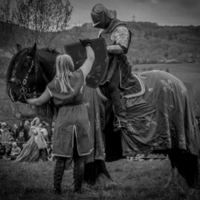 Sudeley Castle Medieval Jousting Show 2017 - Golden Knight Handed Shield