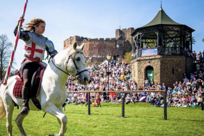 St George Jousting at Tamworth Castle at Easter 2019 Knights on Horseback St George on Horseback England UK from Marc Lovatt and The Cavalry of Heroes Tamworthartsandevents