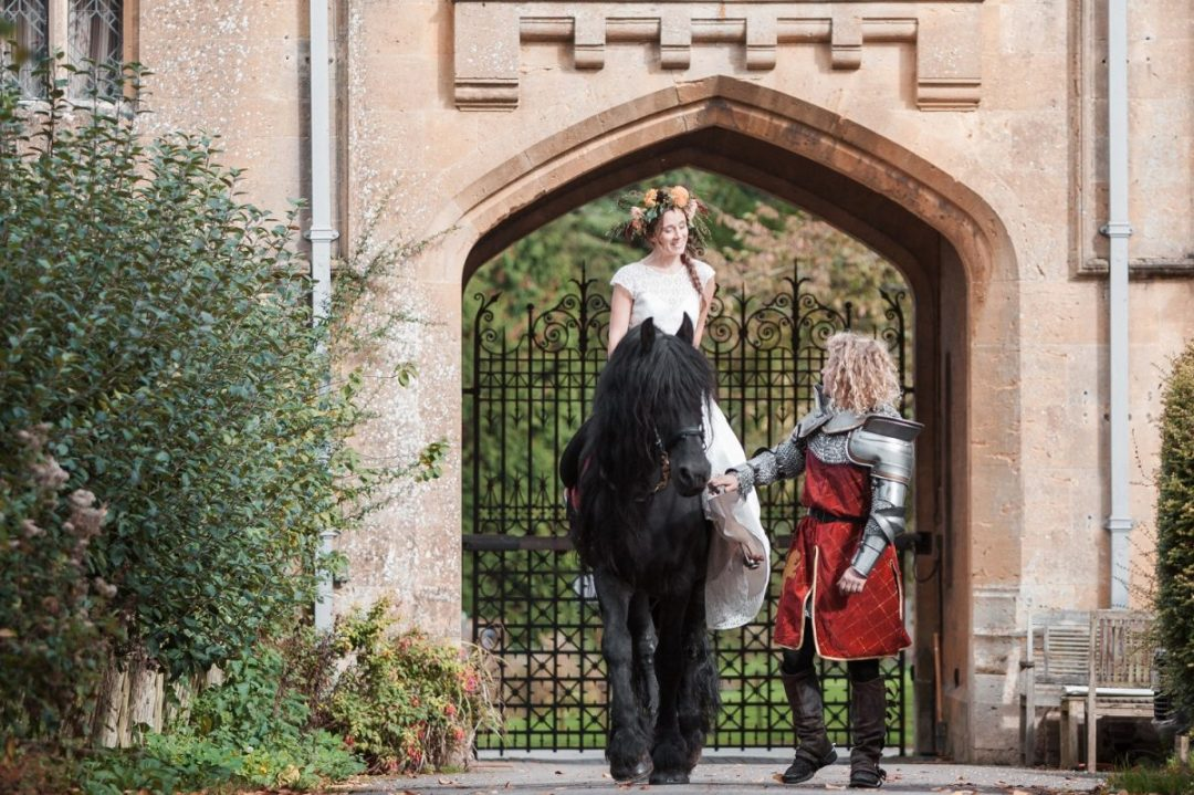 Medieval Wedding arrival on horseback from Marc Lovatt and The Cavalry of Heroes Horses Bride Herefordshire, Wales