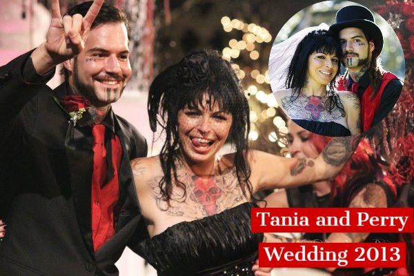 Perry Sanchez and his wife Tania Torres donned all back in their wedding 2013