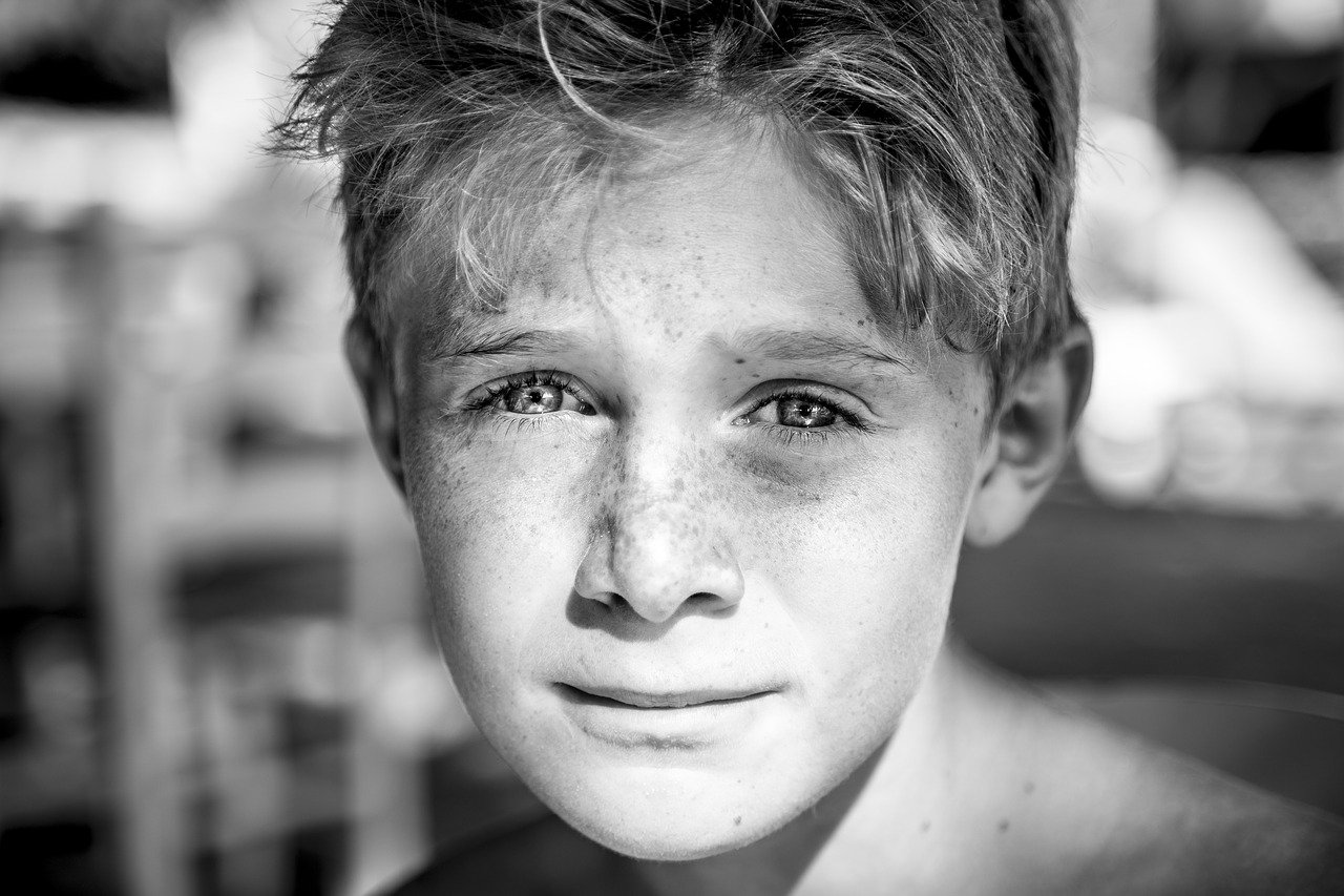 child, freckles, young