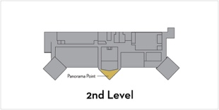 Panorama Point is located on the second level in the center of the building facing North.