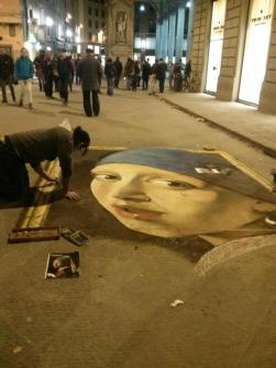 Vermeer by chalk artist in Italy