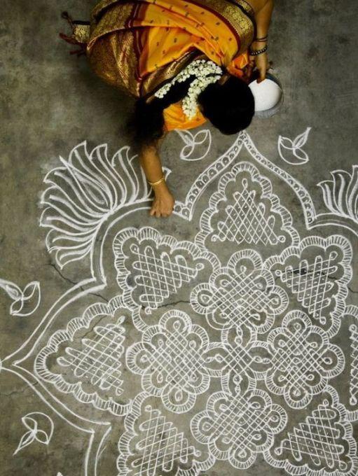 Chalk Rangoli Design
