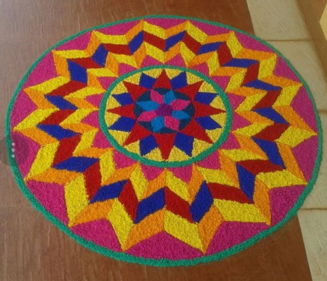 Rangoli designs to make using Holi colors 03
