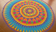 Rangoli designs to make using Holi colors 06