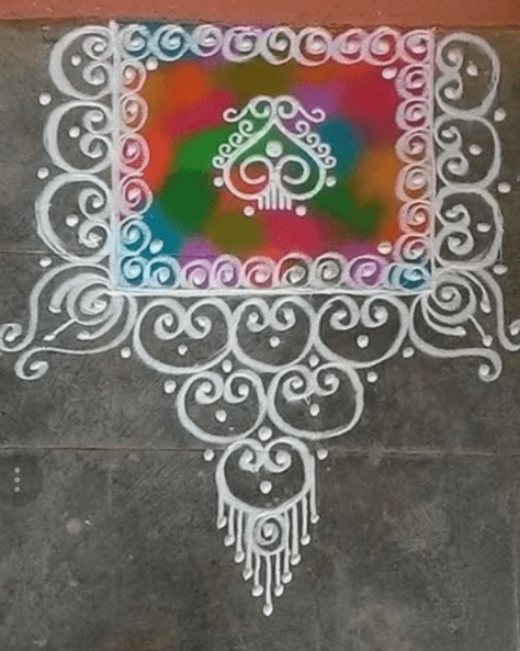 Rangoli designs to make using Holi colors 10