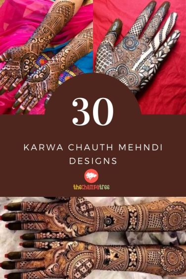 Mehndi Designs For Karwa Chauth - Collage of many mehndi designs