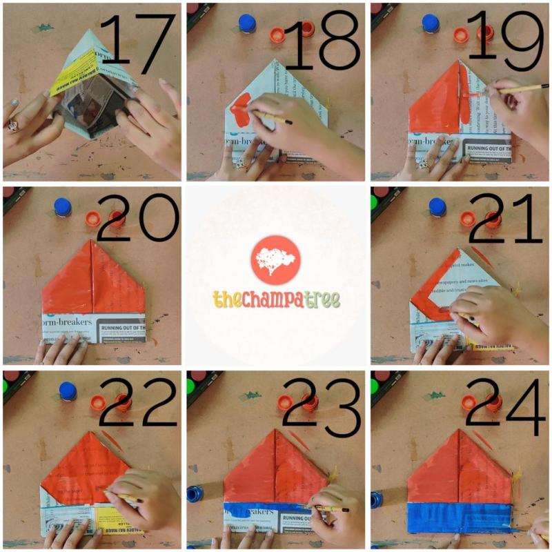 Newspaper art and crafts step by step tutorial steps 17 to 24