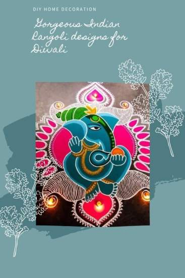 Rangoli Designs for Diwali - Ganesha design