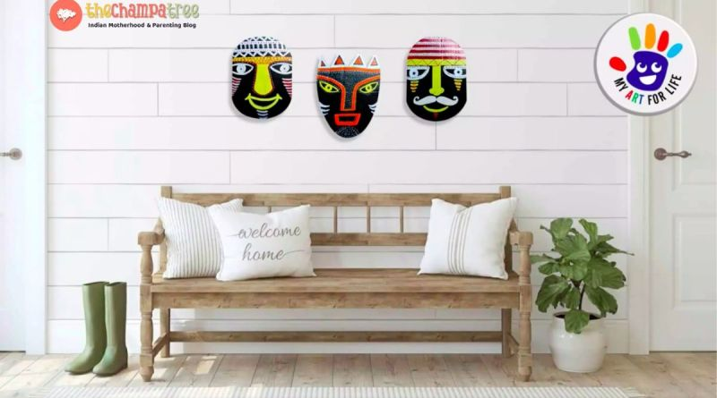 Wall Hanging Paper Craft - Three tribal masks in the living room