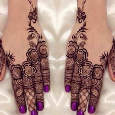 Eid Mehendi Design - Purple nail paint