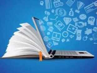 An open book in a laptop - Clipart