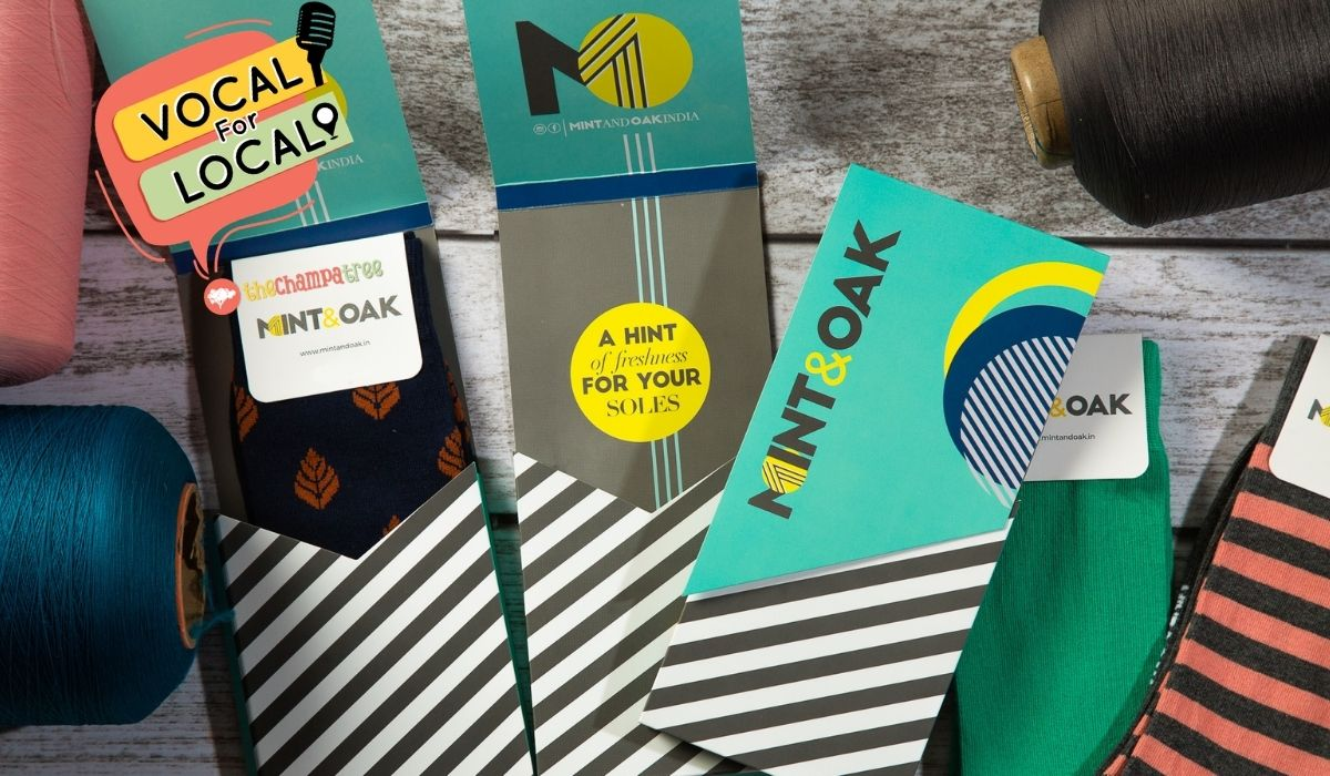 Vocal For Local - Mint And Oak (Smart And Quirky Indian Socks Brand)