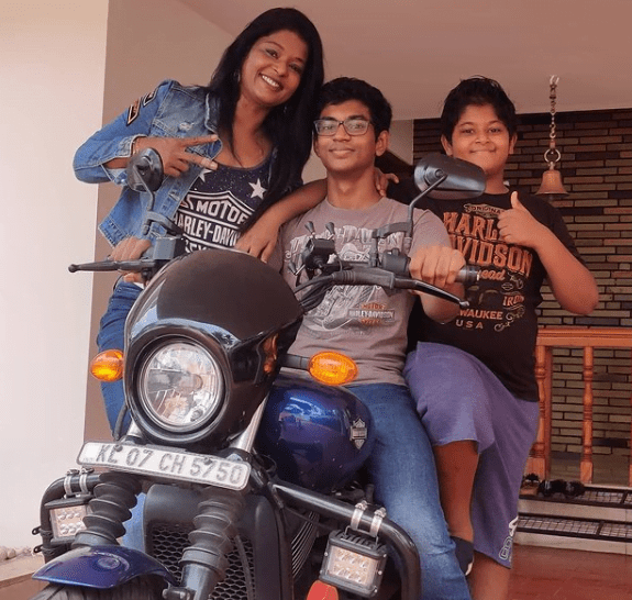 Sony Mathew with her kids