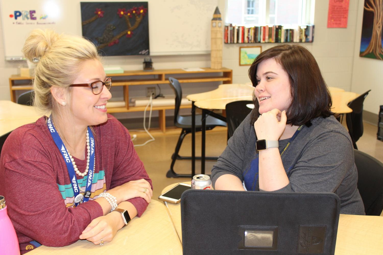 Sponsors of Beta club English teacher Amanda Witt and Math teacher Lindsey Sneed discuss plans for the future of the club.