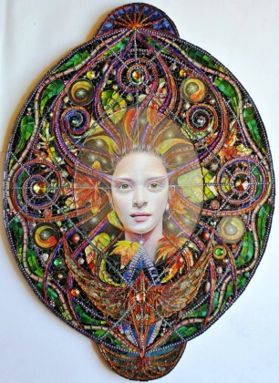 glass oval mosaic with goddess figure at its center