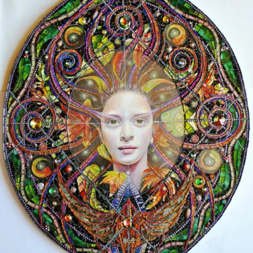 Fine artist on Etsy image of glass oval mosaic with goddess figure at its center