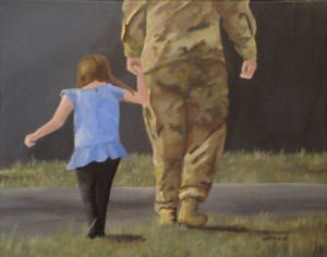 Military man with daughter painting for Military Veterans are artists too post