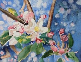 apple blossom painting for aromatherapy toolkit