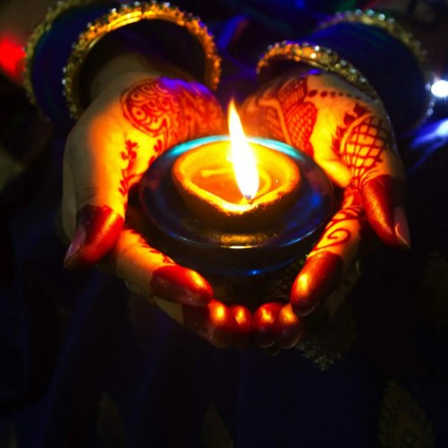Diwali offering candle