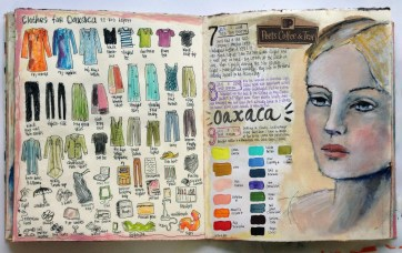 """""""Personal Journal Page, """"2014, by Judy Wise. Acrylic on paper,16""""x10"""". Copyright © 2014 Judy Wise. Used by permission of artist. How travel benefits the business of artists"""