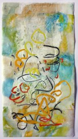 """Dazzled By His Pretty Face"", 2014, by Judy Wise. Encaustic on Interleaving paper, 11""x20"". Copyright © 2014 Judy Wise. Used by permission of the artist."