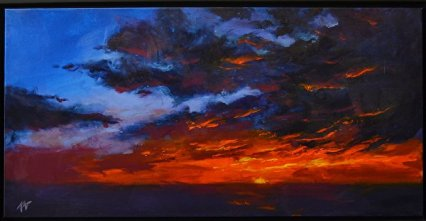 """""""Evening Offering,"""" by artist and Charmed Studio subscriber <a href=""""http://www.katbergman.com"""">Kat Bergman</a>. Acrylic on Canvas. 18 x 36 1.5. Used here and in banner with permission."""