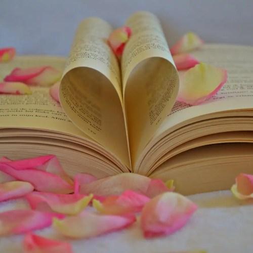 book with rose petals
