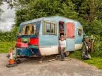 Creative person in his camper van