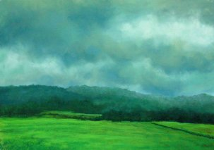 meditation for artists , painting of mist covered green field