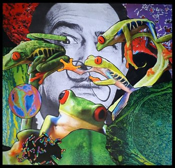 """""""Amphibian Circus,"""" Traditional collage by <span style=""""color: #0000ff;""""><a style=""""color: #0000ff;"""" href=""""https://www.deviantart.com/jujubrew"""">JujuBrew</a></span>. Banner image is a detail of this 2018 work measuring 47.5 x 5o cm. Used with permission of the artist.</span>"""