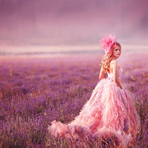 beautiful magic artist/ bride in lavender field