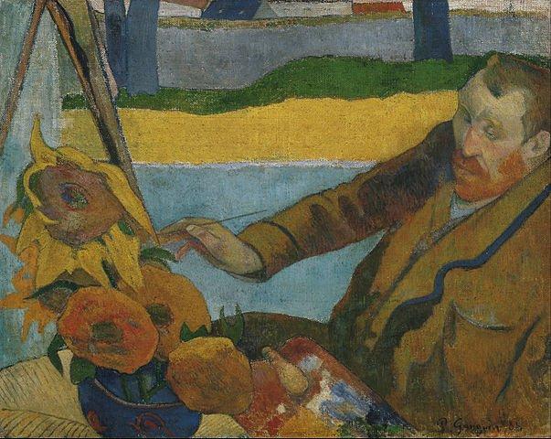A portrait of painter Paul_Gauguin painting sunflowers_by the artist_Vincent_van_Gogh