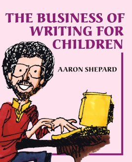 Cover of Book , Business of Writing For Children. Featuring a cartoon of author typing at a keyboard.