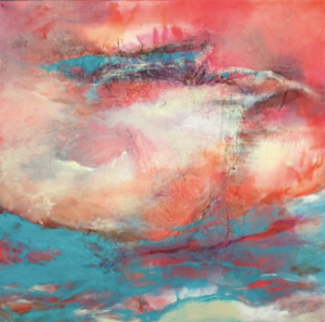 Meditation Just for Artists Banner Image , abstract painting of the sky by Donna Wocher. Banner image for Meditations for Artists post.