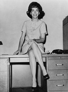A photo of Helen Gurley Brown, former editor of a magazine that reinforces a message that makes it difficult for women to go about letting go of approval