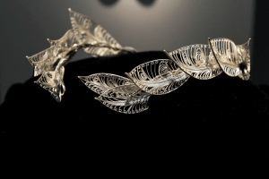 """Lindsay Zike's silverware in photo : """"Earrings of Amalthea"""" 2014. By <a href=""""http://www.zikestudios.com"""">Lindsay Zike</a>. Fine silver, sterling silver. Photo by Victoria Altepeter. Learning from artists who are vets."""