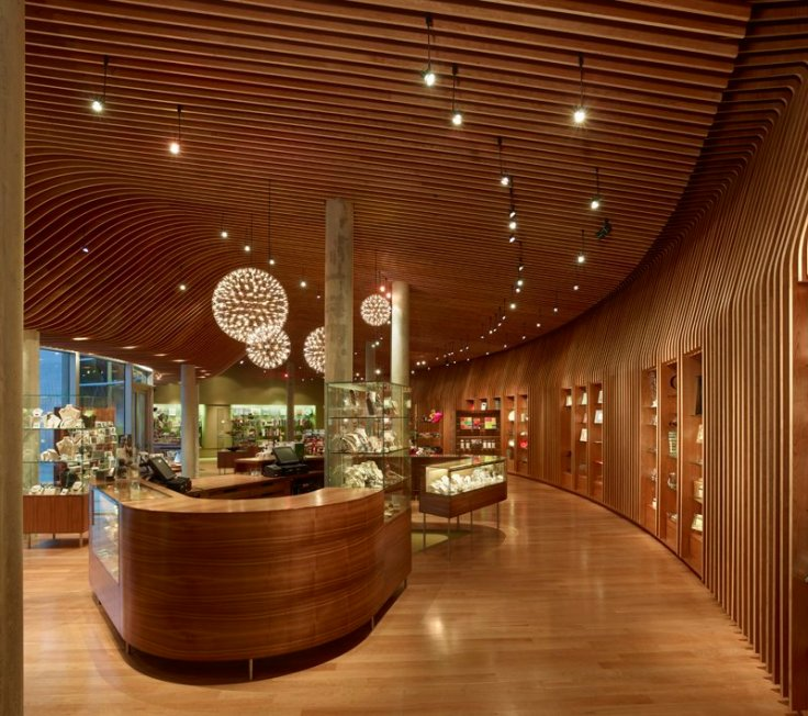 Interior photo of one of the most gorgeous museum stores I've ever seen. Crystal Bridges Museum Store, Bentonville Ak. Photo by Timothy Hurlsley. Used by permission of the museum. Architect of the museum store, Marlon Blackwell.