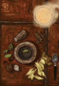 """tea time in studio,"" by Kiko. drawing of Chai tea ingredients on a sienna colored table."