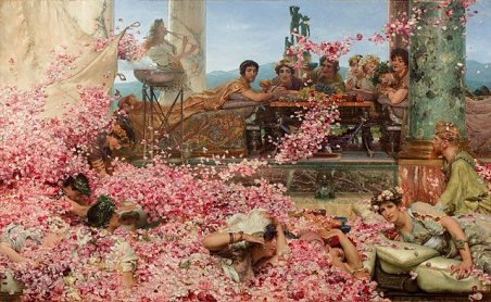 """The Google Gods of SEO for artists, depicted here as the painting """"The Roses of Heliogabalus,"""" by Lawrence Alma-Tadema. 1888."""