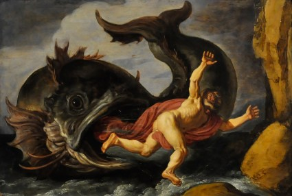 oil painting of Jonah ( of the Jonah Complex) being swallowed by the whale,