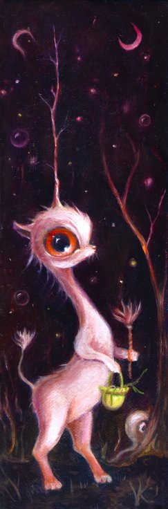 """Uney in the Magical Forest,"" by Elizabeth Victoria Knowles. Oil on canvas, 9"" x 3"" © 2012. Knowles is an artist with ADD"