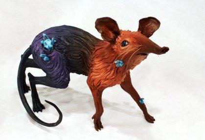 Shy sci fi rat, crystal sculpture by Anvil Catlin Williamson for marketing for introverts post
