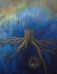 """""""History Waiting"""", 2012, by Carlynne Hershberger. Acrylic and oil on canvas, 48x36 in. For Shadow art post"""