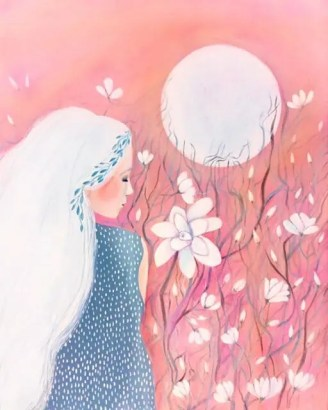 Tiziana painting of woman in moonlit field for art healing broken heart