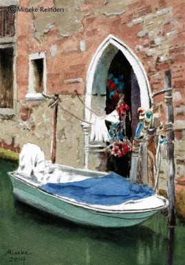 Mineke watercolor of boat in Venice canal for recovering from a harsh critique article