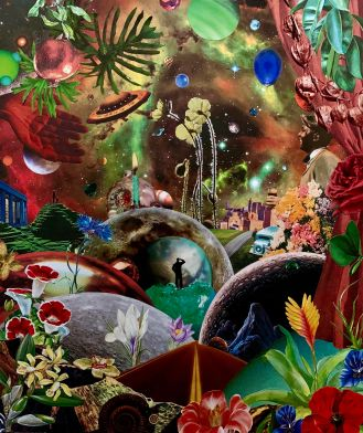 planetary and floral collage art for art newsletter post